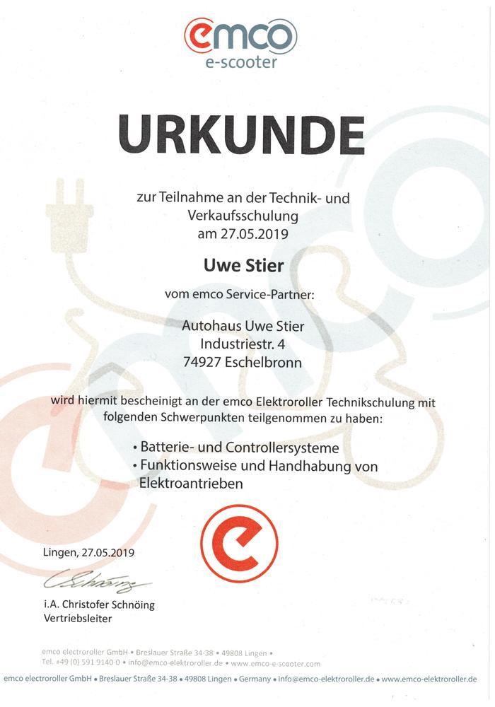 Urkunde EMCO Schulung 2019