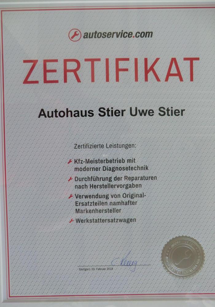 Zertifikat autoservice.com